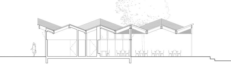 Nimbus Architekten Michael Bühler Lukas Schaffhuser Pavillon im Park Zürich Schnitt Lang