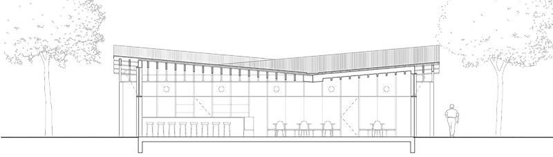Nimbus Architekten Michael Bühler Lukas Schaffhuser Pavillon im Park Zürich Schnitt Quer