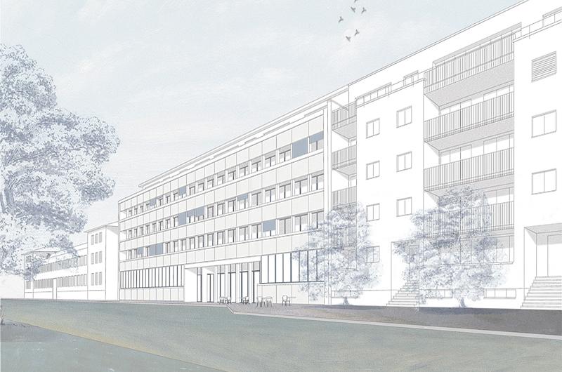 Nimbus Architekten Michael Bühler Lukas Schaffhuser Wettbewerb Umbau Hochbergerstrasse 158 Basel Aussenperspektive