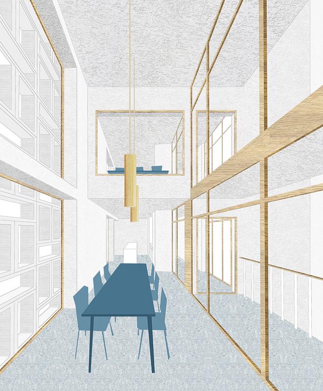 Nimbus Architekten Michael Bühler Lukas Schaffhuser Wettbewerb Umbau Hochbergerstrasse 158 Basel Bild Gemeinschaftsraum