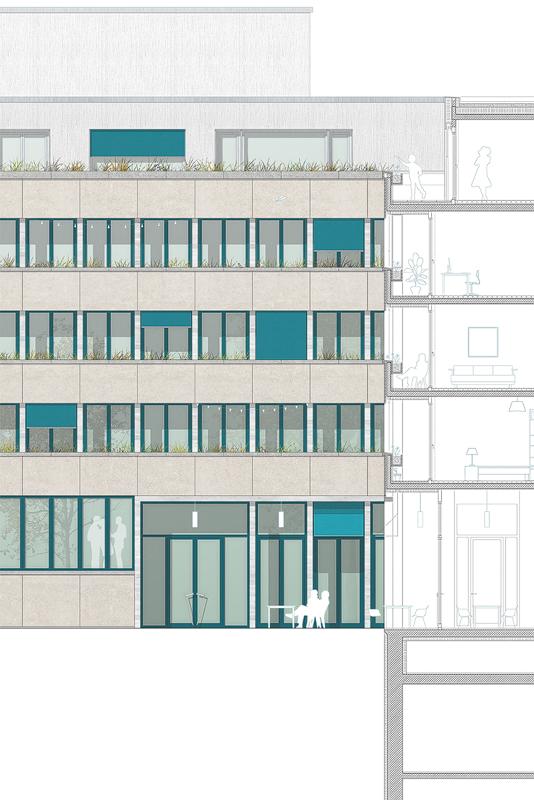Nimbus Architekten Michael Bühler Lukas Schaffhuser Wettbewerb Umbau Hochbergerstrasse 158 Basel Fassade Detail Strasse