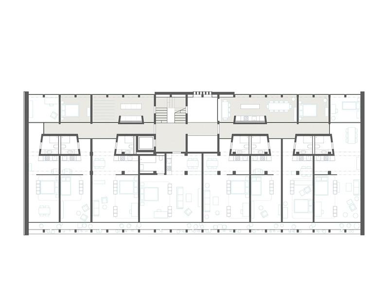 Nimbus Architekten Michael Bühler Lukas Schaffhuser Wettbewerb Umbau Hochbergerstrasse 158 Basel Grundriss Obergeschoss 1