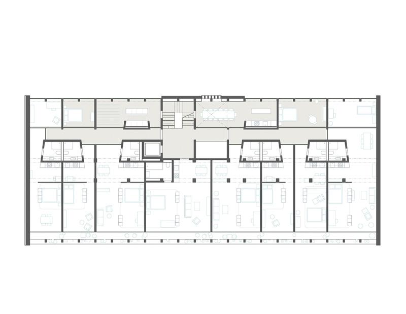 Nimbus Architekten Michael Bühler Lukas Schaffhuser Wettbewerb Umbau Hochbergerstrasse 158 Basel Grundriss Obergeschoss 2