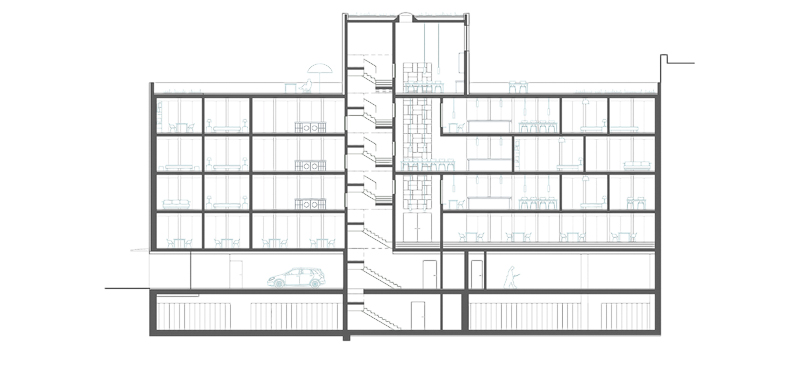 Nimbus Architekten Michael Bühler Lukas Schaffhuser Wettbewerb Umbau Hochbergerstrasse 158 Basel Schnitt Lang