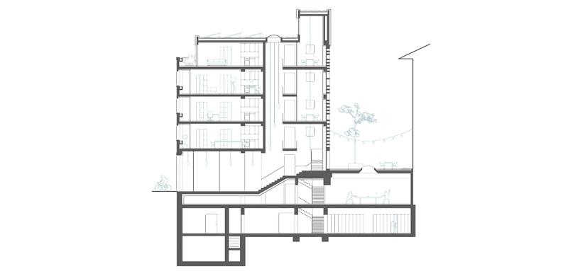 Nimbus Architekten Michael Bühler Lukas Schaffhuser Wettbewerb Umbau Hochbergerstrasse 158 Basel Schnitt Quer 2