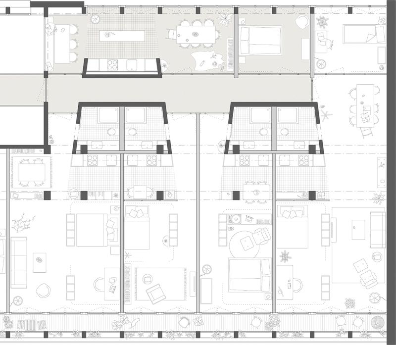 Nimbus Architekten Michael Bühler Lukas Schaffhuser Wettbewerb Umbau Hochbergerstrasse 158 Basel Grundriss Wohnung