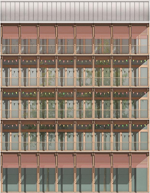 Nimbus Architekten Michael Bühler Lukas Schaffhuser Neubau Primarschule Walkeweg Fassaden Ansicht